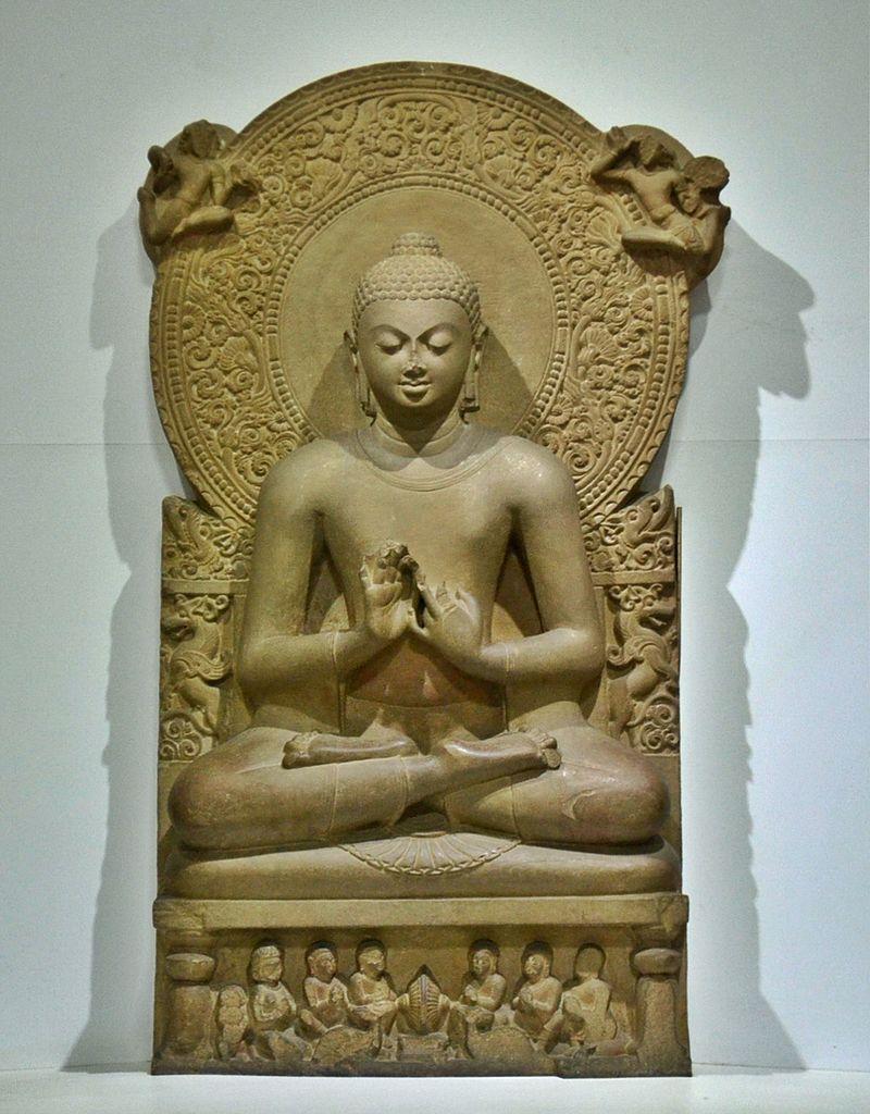 teaching Buddha (Dharmacakra mudrā). Gupta period. Sandstone, H. 160 cm. Archaeological Museum (ASI), Sarnath, India. Sarnath Museum, India.Wikipedia.