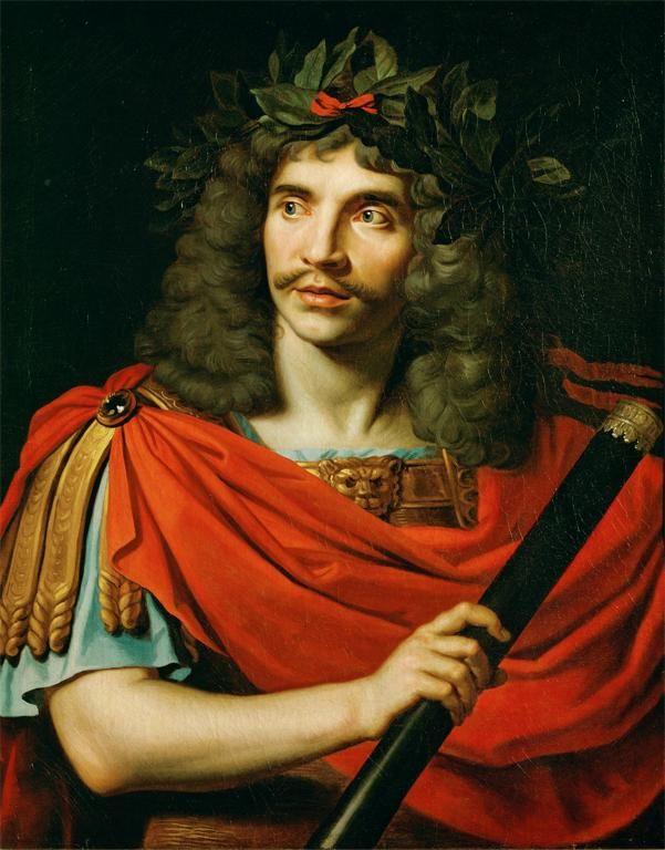 Molière în rolul lui Cezar.  Pictură de Pierre Mignard, sursă Wikipedia.